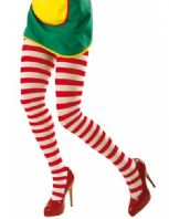 Red/White Striped Tights - Plus Size